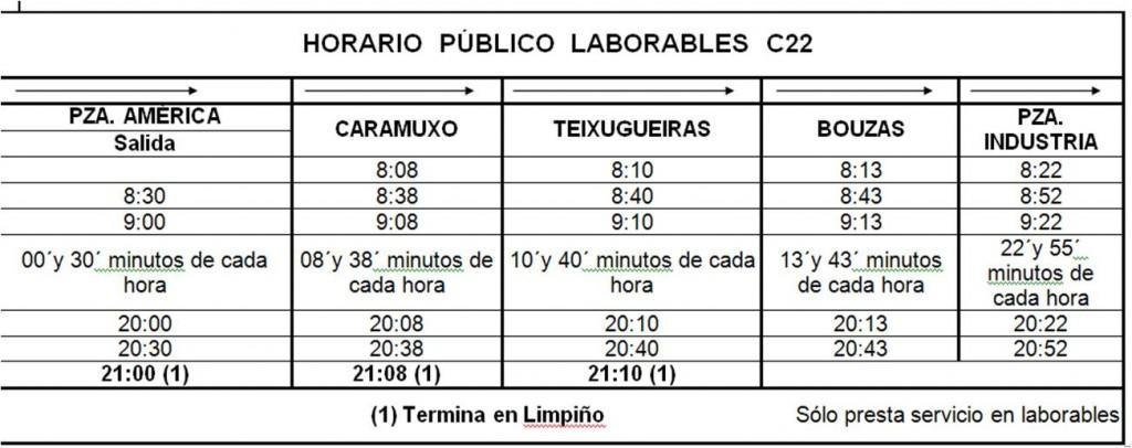 Horario Ampliación C22 15/2/11