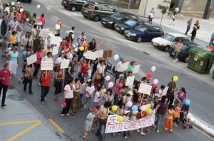 Paso de la manifestación por Teixugueiras