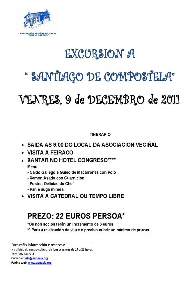 Cartel Excursión Santiago 9/12/11