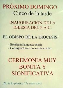 Cartel inauguración iglesia 22/12/2013